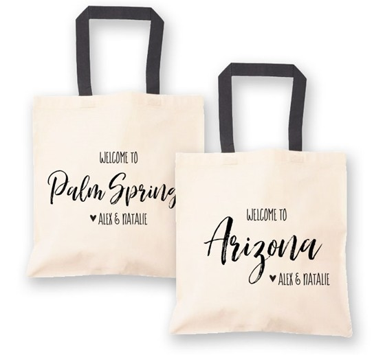 Event Blossom City/State Destination Wedding Welcome Canvas Tote Bag