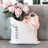 Event Blossom Canvas Tote Bag with Vertical Script Name (8 Colors)