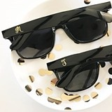 Event Blossom Black Sunglasses with Gold Monogram