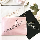 Event Blossom Custom Script Name Canvas Cosmetic Bags (9 Colors)