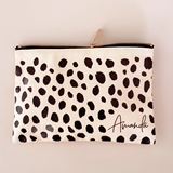 Event Blossom Cheetah Print Personalized Cosmetic Bag (3 Colors)