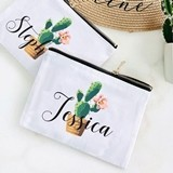 Event Blossom Personalized Fiesta Cactus Design Canvas Cosmetic Bag