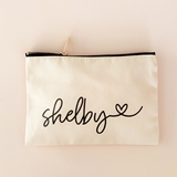 Event Blossom Personalized Cosmetic Bag with Script Name and Heart