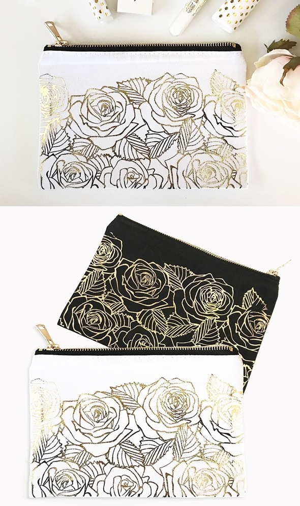 Canvas Cosmetic Bag with Gold Foil Rose Garden Motif (2 Colors)