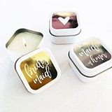 Event Blossom Bridal Party Square Candle Tins with Foil Labels