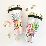 Personalized Tropical Beach Travel Tumbler with Script Name & Gold Lid