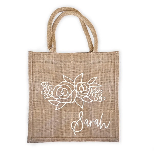 Event Blossom Personalized Floral Silhouette Design Burlap Tote Bag