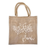 Event Blossom Personalized Floral Silhouette Design Burlap Tote Bag