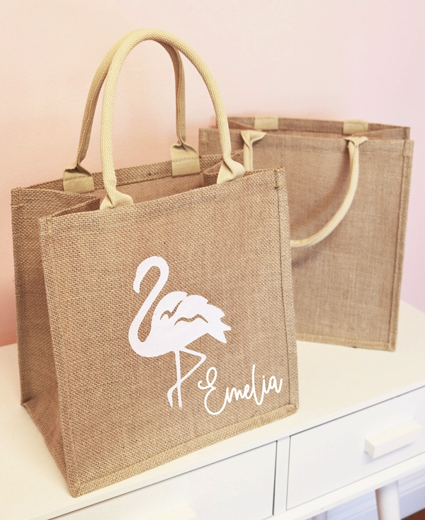 Event Blossom Personalized Flamingo Design Burlap Tote Bag