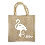 Event Blossom Personalized Flamingo Design Burlap Tote Bag