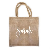 Personalized Burlap Tote Bag with Contemporary Script Name in White