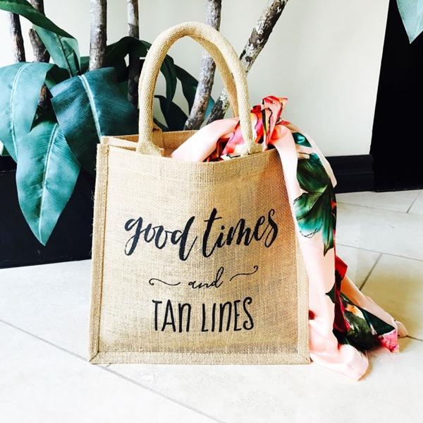 Event Blossom Good Times & Tan Lines Theme Burlap Tote Bag