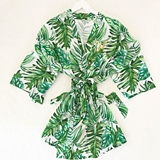 Event Blossom Monogrammable Tropical Palm Leaf Motif Cotton Robe