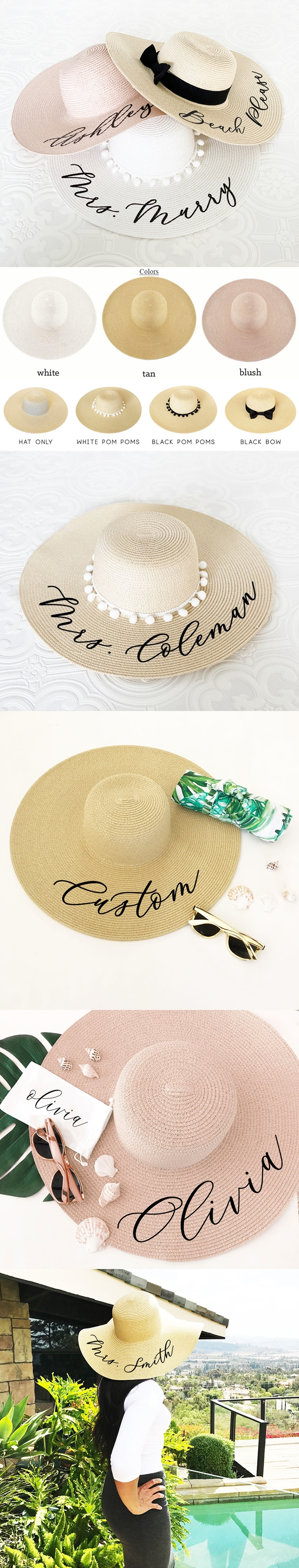 Event Blossom Personalized Straw Sun Hat (3 Colors)