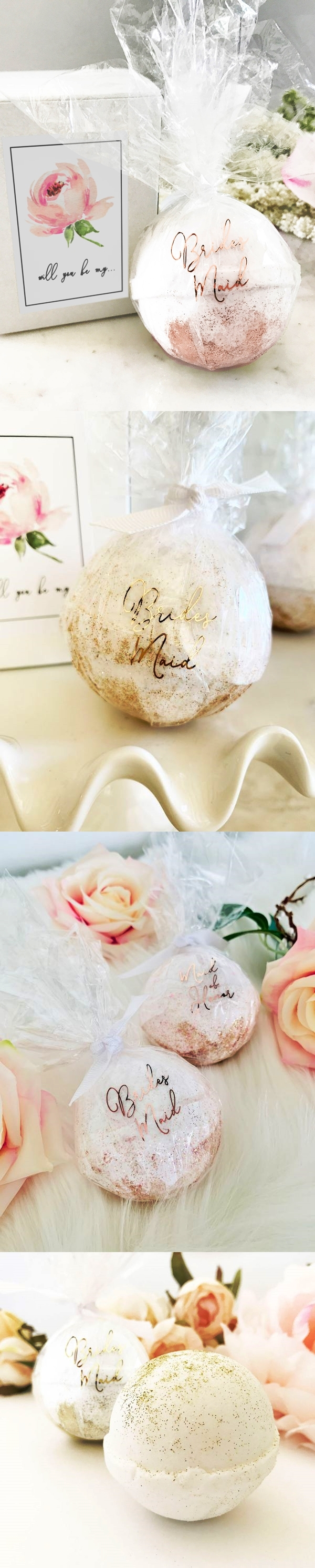 Event Blossom Bridal Party Proposal Bath Bomb in Rose Design Gift-Box