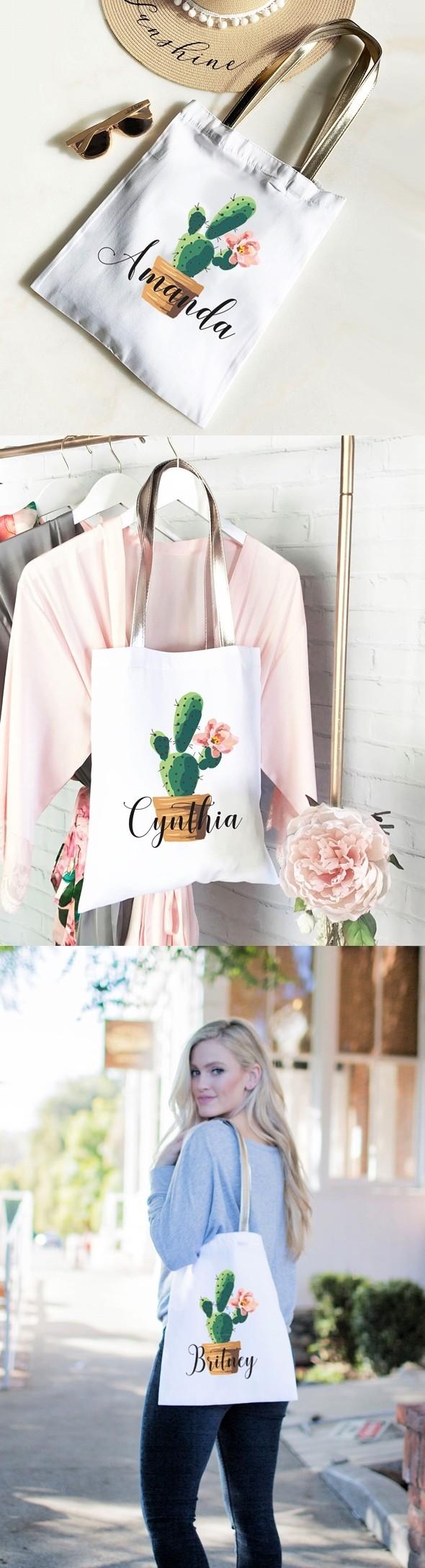 Event Blossom Personalized Fiesta Cactus Design Tote Bag