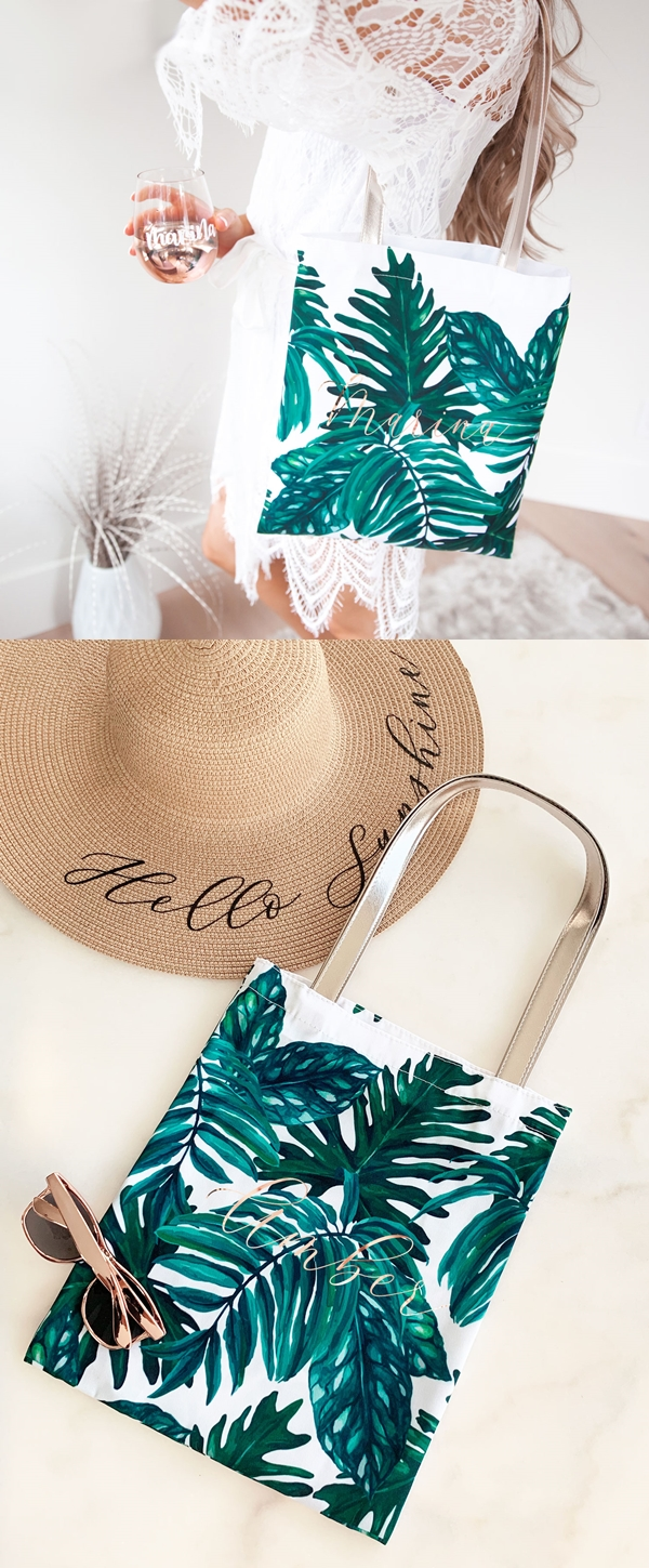 Event Blossom Personalized Palm Leaf Pattern Tote Bag with Script Name