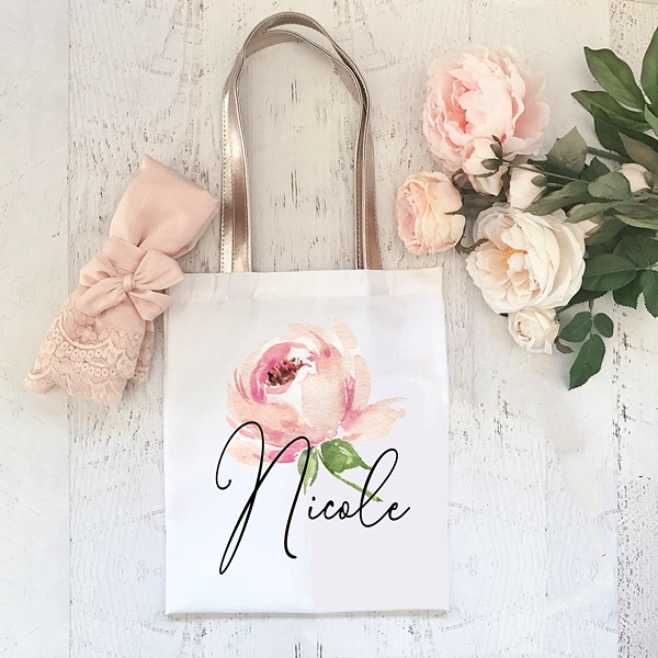 Event Blossom Personalized Spring Rose Design Tote Bag w/ Script Name