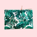Event Blossom Personalized Palm Leaf Pattern Canvas Cosmetic Bag