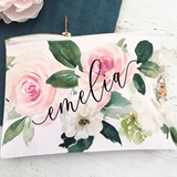 Event Blossom Personalized Spring Rose Design Canvas Cosmetic Bag