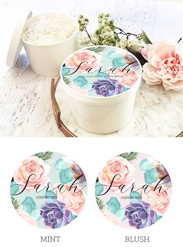 Event Blossom Round Gift-Box with Personalized Succulent Design