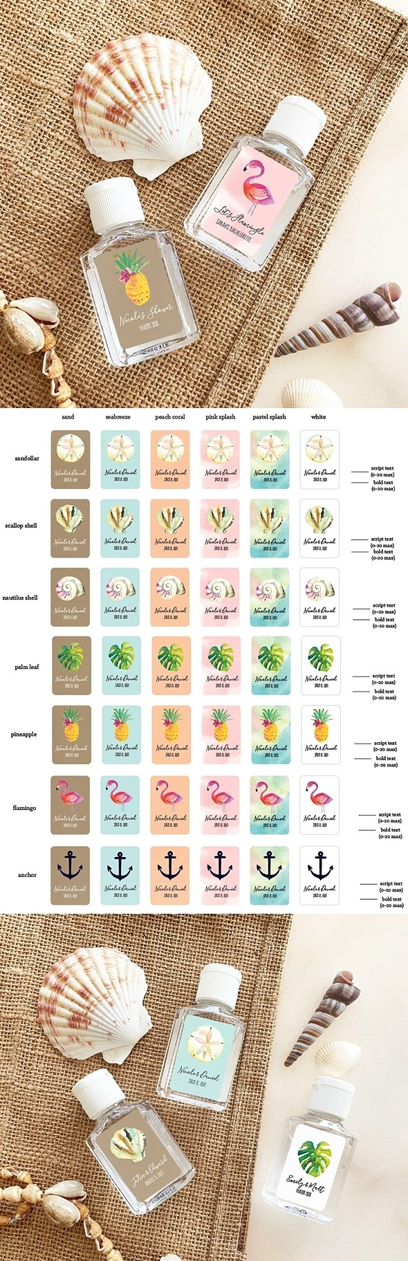 Event Blossom Personalized Tropical Beach Hand Sanitizer Bottles