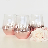 Event Blossom Personalizable Rose-Gold-Dipped Stemless Wine Glass