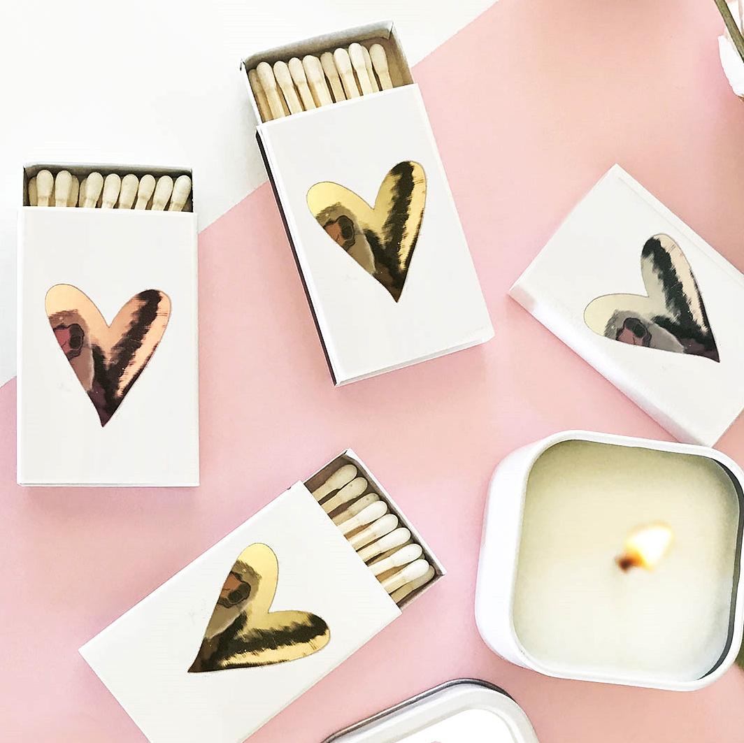 Event Blossom Matchboxes with Heart Design (3 Foil Colors) (Set of 6)
