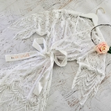Event Blossom Personalized Lace Robe with White Tie with Script Name
