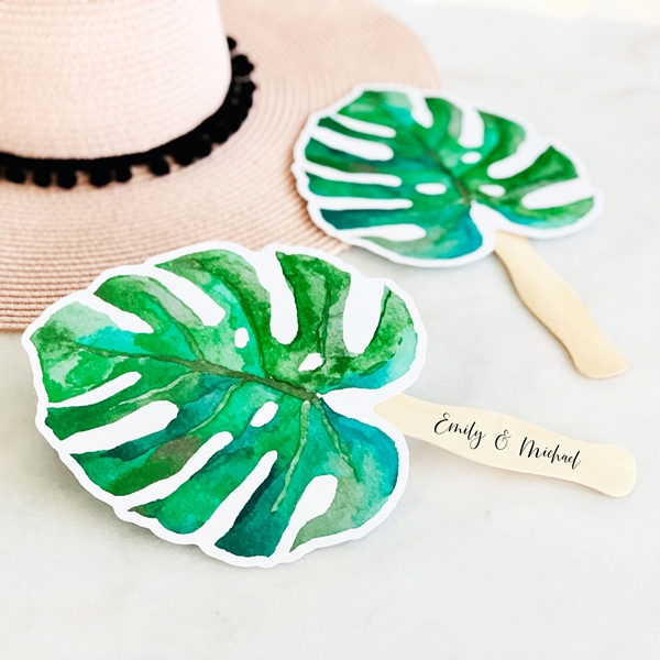 Event Blossom Personalizable Laminated Paper Fan with Palm Leaf Design