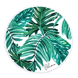 Event Blossom Personalizable Palm Leaf Pattern Round Beach Towel