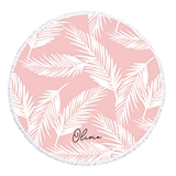 Event Blossom Personalizable Palm Leaves on Pink Round Beach Towel