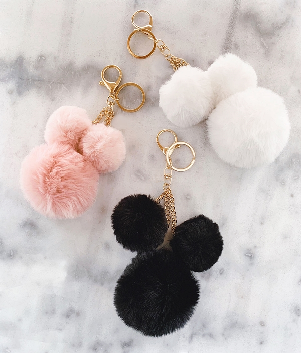 Event Blossom Faux-Fur Pom Pom Keychain (3 Colors)