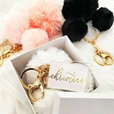Event Blossom Pom Pom Keychain w/ Personalized Acrylic Tag (3 Colors)