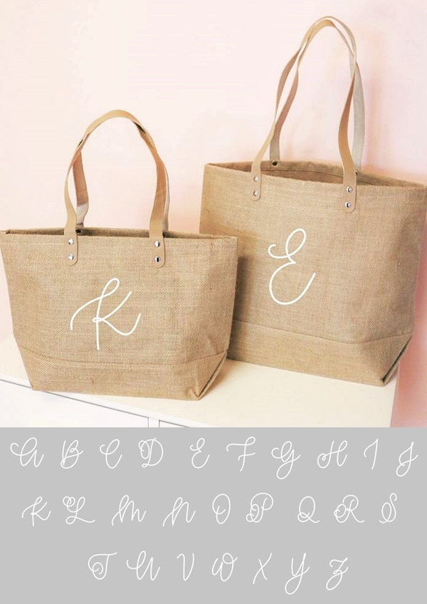 Event Blossom Monogrammed Burlap Tote Bag w/ Leather Handles (2 Sizes)