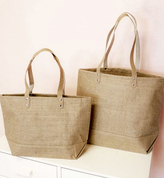 Event Blossom Blank Jute Tote Bags with Leather Handles (2 Sizes)