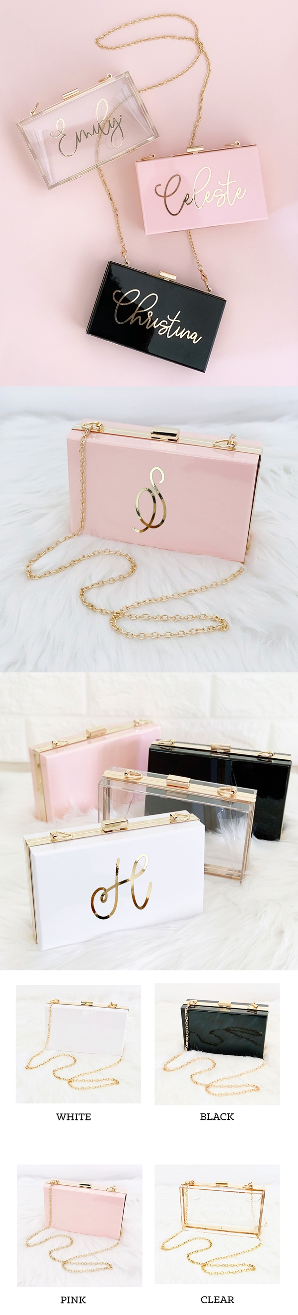 Event Blossom Personalized Cross-Body Acrylic Purse with Gold Trim