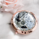 Event Blossom Monogram Gem Design Compact Mirror with Script Initial