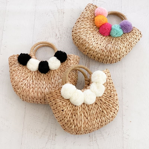Event Blossom Crescent-Shaped Woven Straw Purse with Pom Poms