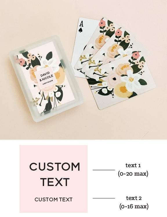 Boho Floral Playing Cards Deck with Personalized Sticker for the Case