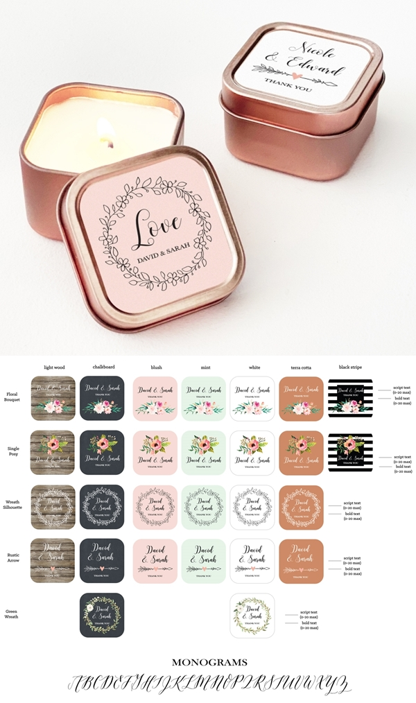 Event Blossom Floral Garden Designs Rose Gold-Colored Candle Tins