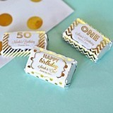 Personalized Metallic Foil Birthday Mini Candy Wrapper Covers