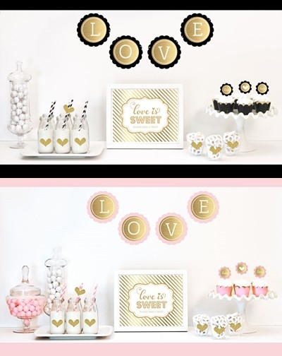 gold glitter bridal shower decorations kit non personalized