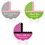 Personalized Baby Carriage-Shaped Stickers (22 Colors)