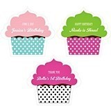Personalized Colorful-Cupcake-Shaped Labels (22 Colors)