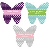 Beautiful Personalized Butterfly-Shaped Labels (22 Colors)