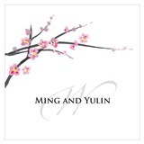 Cherry Blossoms Design Personalized Small Square Tags (Set of 2)