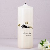 Love Birds Personalized Pillar Candle (4 Designs) (Ivory or White)