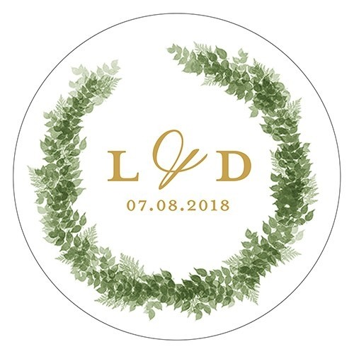 Foliage Wreath Design Small Stickers With Couple S Monogram Set Of 2