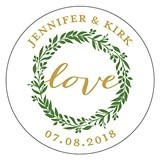 Personalized Love Wreath Design Round Small Stickers (Set of 2)